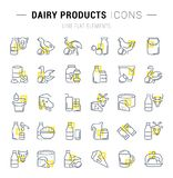 Set Vector Line Icons of Dairy Products. Set of  line icons and signs with yellow squares of dairy products for excellent concepts. Collection of infographics Royalty Free Stock Images