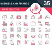 Set Vector Flat Line Icons Business and Finance. Set vector line icons in flat design business, finance and accounting with elements for mobile concepts and web Royalty Free Stock Photos