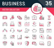 Set Vector Flat Line Icons Business. Set vector line icons in flat design business, finance and teamwork with elements for mobile concepts and web apps Royalty Free Stock Images