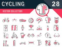 Set Vector Flat Line Icons Cycling. Set vector line icons in flat design cycling, bike elements and parts, bicycle sport with elements for mobile concepts and Stock Photography