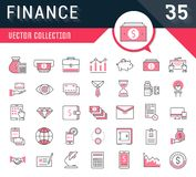Set Vector Flat Line Icons Finance. Set vector line icons in flat design finance and business with elements for mobile concepts and web apps. Collection modern Royalty Free Stock Images