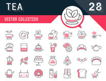 Set Vector Flat Line Icons Tea vector illustration
