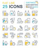 Set Vector Line Icons of Food Additives. stock illustration