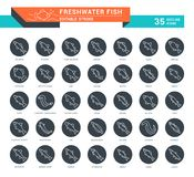 Set Vector Line Icons of Freshwater Fish. Set of outline white icons on black rounds of freshwater fish with names. Collection vector thin line signs. Simple Stock Image