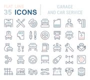 Set Vector Line Icons of Garage and Car Service. Set of vector line icons, sign and symbols with flat elements of garage and car service for modern concepts Royalty Free Stock Images