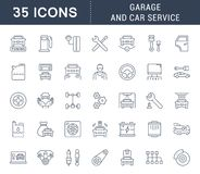 Set Vector Line Icons of Garage and Car Service. Set of vector line icons, sign and symbols of garage and car service for modern concepts, web and apps Stock Photography