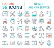 Set Vector Line Icons of Garage and Car Service. Set of vector line icons, sign and symbols with flat elements of garage and car service for modern concepts Stock Photo