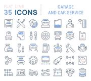 Set Vector Line Icons of Garage and Car Service. Set of vector line icons, sign and symbols with flat elements of garage and car service for modern concepts Royalty Free Stock Image