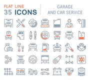 Set Vector Line Icons of Garage and Car Service. stock illustration