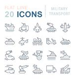 Set Vector Line Icons of Military Transport. vector illustration