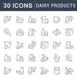 Set Vector Line Icons Of Dairy Products. Stock Photography