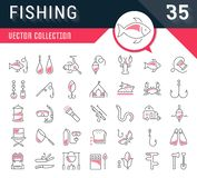 Set Vector Flat Line Icons Fishing. Set vector line icons, sign and symbols in flat design fishing with elements for mobile concepts and web apps. Collection Stock Image