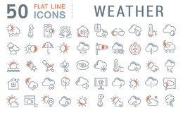 Set Vector Line Icons of Weather. royalty free illustration