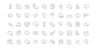 Set Vector Line Icons of Weather. stock illustration