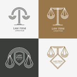 Set of vector line style vintage law firm logo design template. Royalty Free Stock Photos