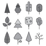 Set of vector line Trees. Forest creative icons Stock Images