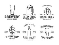 Set of vector linear brewery logos Royalty Free Stock Photography