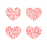Set of vector linear graphic stylized hearts. Symbol of love. And Valentine day Royalty Free Stock Photo