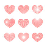 Set of vector linear graphic stylized hearts. Symbol of love. And Valentine day Stock Photo