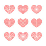 Set of vector linear graphic stylized hearts. Symbol of love Stock Photography