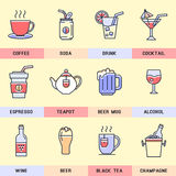Set of vector, linear icons in a modern flat design. Coffee, tea and alcoholic beverages Stock Image