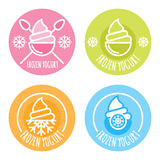 Set of vector linear logo, label, of frozen yogurt. Multicolor ice cream icons. Circle outline  emblems. Design elements for package and prints Royalty Free Stock Image