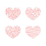Set of vector linear stylized hearts. Symbol of love. Set of vector linear graphic stylized hearts. Symbol of love and Valentine day Stock Photos