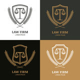 Set of vector linear vintage law firm logo template. Royalty Free Stock Photo