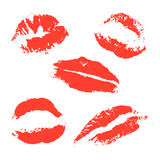 Set of vector lips on a white background. Print of red lips. Set of vector illustration on a white background. Romantic illustration for a wedding, print Stock Photo