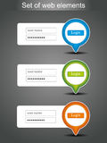 Set of vector login icons Royalty Free Stock Images