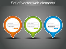 Set of vector login icons Stock Photos