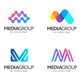 Set of vector logo design. M letter. Media sign Royalty Free Stock Photos