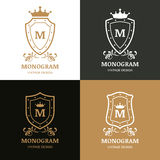 Set of vector logo design. Symbol of crown, shield and flourish Stock Image