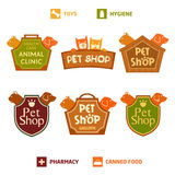 Set of vector logo on heraldic shield for pet shop, hotel. Royalty Free Stock Image