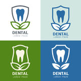 Set of vector logo icons design. Tooth, shield and green leaves Royalty Free Stock Image
