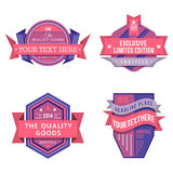 Set of vector logo pink retro labels and vintage style banners Stock Photos