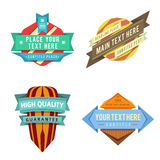 Set of vector logo retro ribbon labels and futuristic style banners. Set of various vector design retro color logo ribbon labels and futuristic style badge Stock Photography