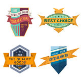 Set of vector logo retro ribbon labels and vintage style shield banners. Set of various vector design retro color ribbon logo labels and vintage style shield Royalty Free Stock Images