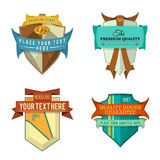 Set of vector logo retro ribbon labels and vintage style shield banners Stock Photography