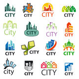 Set of vector logos cities Stock Photography