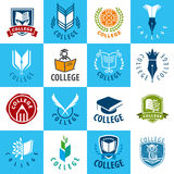 Set of vector logos College Royalty Free Stock Images