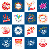 Set of vector logos for fireworks. Set of abstract vector logos for celebratory salute and fireworks Stock Photos