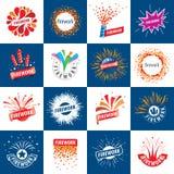 Set of vector logos for fireworks Stock Photos