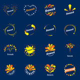 Set of vector logos for fireworks. Set of abstract vector logos for celebratory salute and fireworks Stock Images