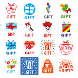 Set of vector logos gifts Royalty Free Stock Image