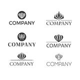 Set of vector logos with gloriosa or flame lily flower Royalty Free Stock Photo