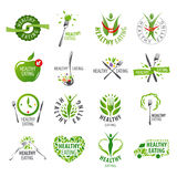 Set of vector logos healthy eating stock illustration