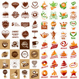 Set of vector logos hot drinks and desserts Royalty Free Stock Photo