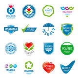 Set of vector logos insurance Royalty Free Stock Photos