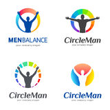 Set of vector logos. Men balance, body balance. Stock Images